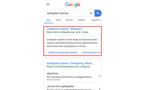 Search engine result pages